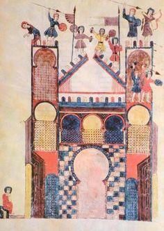 Commentary on the Apocalypse by Beatus of Liébana, Spain, Girona Cathedral, Catalonia. 11th Century, Illuminated Manuscript, Jerusalem, Warfare, Apocalypse, Taj Mahal, Cathedral, Spanish, Wall Art