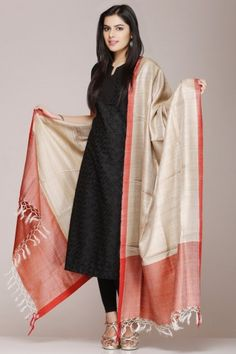Beige Tussar Silk Dupatta With A Orange Border Kurta Designs Women, Churidar Designs, Blouse Designs, Indian Attire, Indian Wear, Indian Outfits, Stylish Dress Designs, Stylish Dresses, Hippy Chic