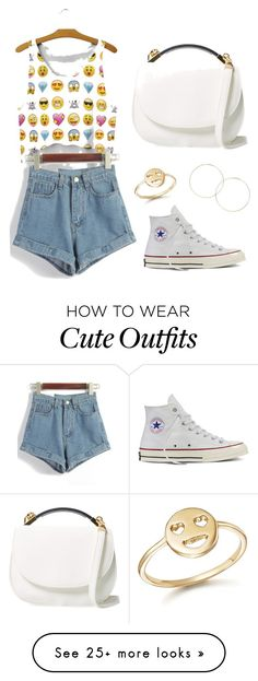 """Casual Summer Emoji Outfit"" by lizzieodo05 on Polyvore featuring WithChic, Converse, Bing Bang and Cynthia Rowley"