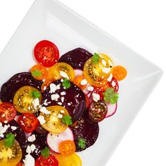 Roasted Beet, Heirloom Tomato, and Goat Cheese Salad Goat Cheese Salad, Feta Salad, Kale Salads, Avocado Salad, Caprese Salad, Roasted Beets And Carrots, Roasted Tomatoes, Love Beets, Red Beets