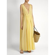 Kalita Clemence cotton and silk-blend maxi dress (885 BRL) ❤ liked on Polyvore featuring dresses, white summer dress, beach maxi dress, ruched dress, white ruched dress and beach dresses