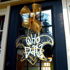 Saints Football Door Hanger Who Dat Sign Fleur by LooLeighsCharm, $45.00