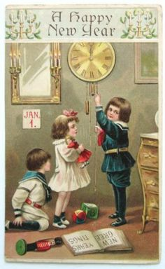 B.W. NEW YEAR CHILDREN Adjust CLOCK Jan. 1 Postcard EMB