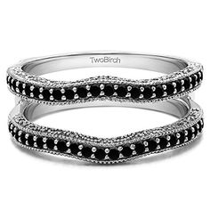 0.26 Black Diamonds Vintage Ring Guard with Millgrain and Filigree in Silver (1/4 ct. twt.) TwoBirch http://www.amazon.com/dp/B00CDESZZI/ref=cm_sw_r_pi_dp_cyp8vb0VHA9R1