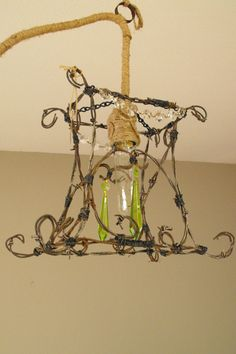 Rustic Redneck Chandelier made from Barbwire. by CorkscrewFarm