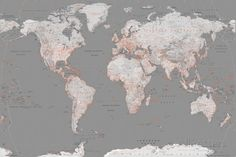 World Map - Grey with Orange Poster bei AllPosters.de
