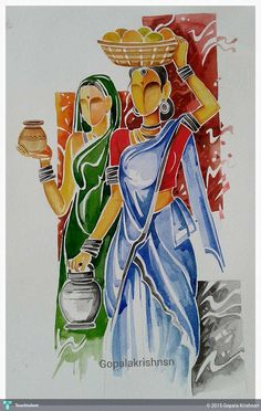 Discover Painting by Gopala Krishnan on Touchtalent. Touchtalent is premier online community of creative individuals helping creators like Gopala Krishnan in getting global visibility. Art Village, Indian Village, Village Drawing, Composition Painting, Madhubani Art, Madhubani Painting, Indian Folk Art, Modern Indian Art, Painting Of Girl