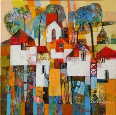 Paintings by Alicja Urbaniak, contemporary Polish artist at the Knock Gallery. Collage Ideas, Collage Art, Mix Media, Mixed Media Art, Landscape Paintings, Landscapes, House Art, Cityscapes, Pretty Pictures