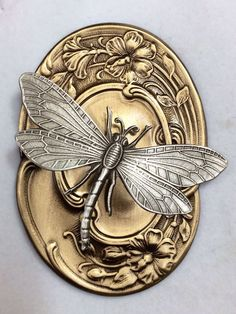 "RP: Sterling Silver Overlay on Stamped Brass ""Dragonfly and Flowers"" Button 