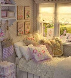 tiny pillows on dollhouse bed