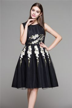 Black Embroidered Floral Lace Dress