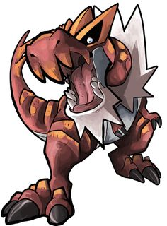 """iris-sempi: """"A Tyrantrum has appeared in my shop! Go here to catch one of your own! """"Made this in a stream on saturday night. I had fun drawing this guy , it was my first time too! I love dinosaurs"""" """""""