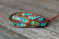Colorful Beaded Bracelet Leather Wrap Turquoise Teal