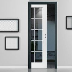 Single Pocket Decca White sliding door system in three size widths with Clear Glass incorporating etched lines. #glazeddoor #pocketdoor #contemporaryglazedpocketdoor