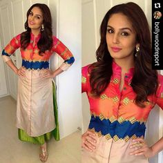 """#Repost @BOLLYWOODREPORT ・・・ Loving this look of Huma Qureshi for ganpati celebrations at Arpita khan Sharma's house. . Outfit : Swati Vijaivargie Stylist…"""