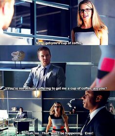 Arrow | Felicity Smoak, Oliver Queen and John Diggle... you go Felicity, tell Oliver like it is!!