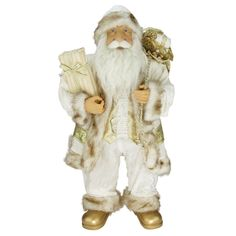 """24"""" Glorious Winter White and Ivory Standing Santa Claus Christmas Figure with Gift Bag"""