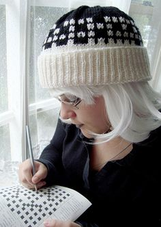 xword puzzle hat knitting pattern