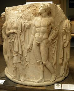Sculptured marble column drum, 325-300 BC, found at the South-West corner of the later temple of Artemis at Ephesos, room 22: Alexander the Great, British Museum