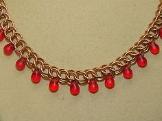 Hand-made Bronze Chain Maille with Matte Czech glass drops