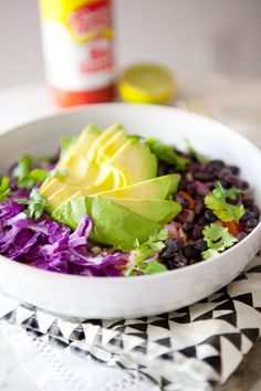 A BURRITO BOWL, - just skip the coconut oil to make it plant-strong