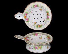 Vintage Porcelain Floral and Gold Trim Tea Strainer and Receptacle