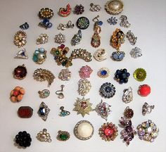 Vintage supply lot of over 50 single earrings, most are Art Deco to Mid Century Single rhinestone and beaded earrings are great for repurposing, altered art, collage, jewel... #gotvintage