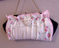 Hankie Clutch Purse Pink Roses Bling Shabby Chic Cottage Pink Roses Old Jewelry