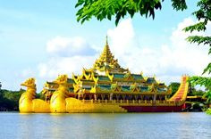 The Royal Barge or The Karaweik is a famous building on the lake in the middle of Yangon, Myanmar. #karaweik #yangon #burma #myanmar