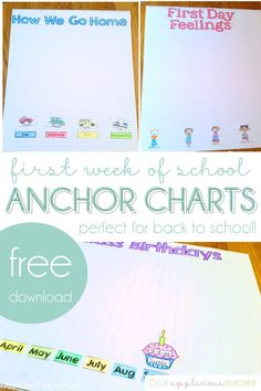 First day of school activities - First Week of School Charts FREEBIE – First day of school activities Anchor Charts First Grade, Kindergarten Anchor Charts, Kindergarten Math Activities, Kindergarten Teachers, Kindergarten Graduation, Kindergarten Procedures, Kindergarten Rocks, Math Games, Preschool Ideas