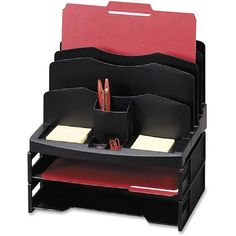 Sparco Smart Solutions Organizer with Letter Tray - Space-efficient desk sorter organizes a variety of paperwork, files and desktop supplies. Cubicle Organization, Office Organization At Work, Desktop Organization, Storage Organization, Office Ideas, Office Decor, Organizing Ideas, Cubicle Storage, Desk Ideas