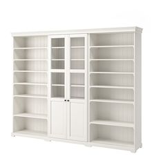 LIATORP Storage combination, white, 108 Are you a romantic at heart? The delicate shapes and details are reminiscent of country living. Combine with other furniture in the LIATORP series for a complete, beautiful look. Bookcase With Glass Doors, Glass Cabinet Doors, Sliding Glass Door, Bookcase White, Bookcase Shelves, Living Room Bookshelves, Modular Bookshelves, Ikea Shelves, Shoe Cabinet