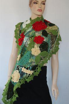 OOAK / Freeform Crochet Floral  Scarf  Shawl / by levintovich, $215.00