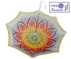 "32"" KAUNI Rainbow Multicolor Lace Crochet UMBRELLA PARASOL amazing! only inspiration no pattern #crochet #ganchillo"