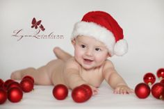 Baby in Santa Hat Christmas Picture with Ornaments