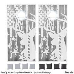 Family Name Gray Wood Deer Buck American Flag Cornhole Set Custom Cornhole Boards, Cornhole Set, Grey Wood, Gray, Cross Beam, Epic Games, School Colors, American Flag, Board Games
