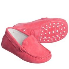 Tod's - Baby Girls Pink Suede Leather 'Gommini' Moccasins | Childrensalon