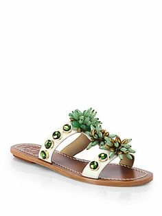Tory Burch Sydney Beaded Leather Sandals...wish these were heels!