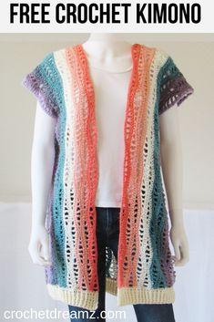 Free Crochet Kimono Pattern, Kylie Kimono - Crochet Dreamz - - This crochet kimono pattern was designed using the gorgeous Lionbrand Mandala yarn. Light, airy and stylish, this will quickly become your favorite piece. Kimono Crochet, Motif Kimono, Pull Crochet, Crochet Vest Pattern, Kimono Pattern, Crochet Cardigan Pattern, Crochet Jacket, Crochet Shawl, Free Crochet