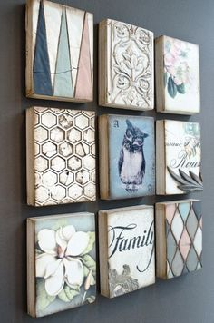Frame Wall Decor, Diy Wall Art, Diy Art, Tile Crafts, Wood Crafts, Inspiration Artistique, Encaustic Art, Small Paintings, Stencil Art
