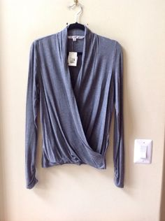 NWT MAX STUDIO WOMEN'S SOLID GRAY RAYON/SPANDEX LONG SLEEVE BLOUSE SIZE M #MaxStudio #Blouse