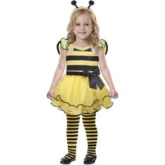 Cute As Can Bee Toddler Halloween Costume, Toddler Girl's, Size: Large, Multicolor