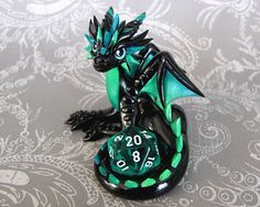 Turquoise Gradient Dice Dragon by DragonsAndBeasties on Etsy