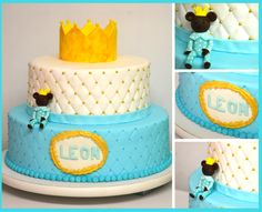 This cake is perfect for your birthday little boy. Its simple colors, the little bear dressed in a blue pajama with white dots wearing a golden crown are sweet details that makes this cake perfect for any birthday theme. New Birthday Cake, Birthday Box, It's Your Birthday, Birthday Quotes For Me, Birthday Gifts For Kids, Adult Party Themes, Birthday Party Themes, Baby Shower Gifts, Baby Gifts