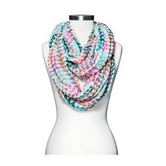 Women's Crinkled Triangle Print Infinity Scarf - Pink - Mossimo Supply... ($15) ❤ liked on Polyvore featuring accessories, scarves, circle scarf, loop scarf, round scarves, tube scarf and loop scarves