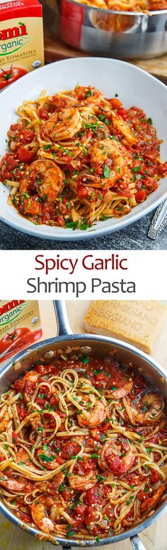 This quick and easy spicy garlic shrimp pasta is one of my favourite recipes for busy weeknight meals or for special occasions! The combination of shrimp in spicy garlic tomato sauce using Pomì organic chopped Best Pasta Recipes, Pasta Dinner Recipes, Pasta Salad Recipes, Spicy Recipes, Shrimp Recipes, Fish Recipes, Cooking Recipes, Healthy Recipes, Shrimp Meals