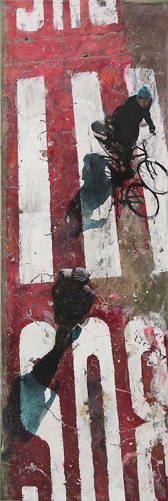 """Artaud Liard painter, """"Voir sans être vu"""", Acrylique, résine et ciment sur toile, 150 x 50 cm"""
