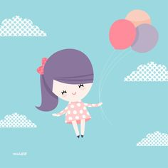 Cute Girl Holding Balloons