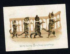 "Victorian Christmas Card 4 Cats Candles ""Good Night"" Ill H Maguire Pub Tuck 