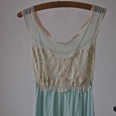 60'S Nightgown Dress Aqua Blue and Nude Sans Souci Negligee with Satin Tie by prettyinprague on Etsy